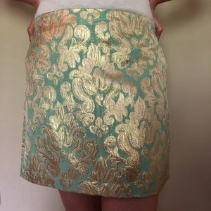 J Crew green & gold metallic brocade skirt
